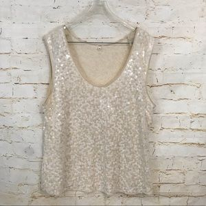 J Crew XL sequin tank top cream euc silk trim